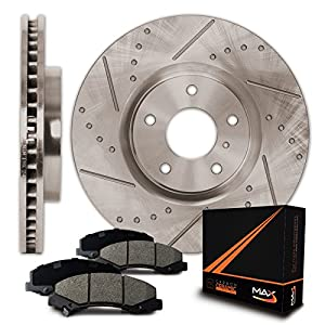 Max Brakes Premium Slotted+Drilled Rotors w/Ceramic Pads Front Perforamnce Brake Kit KT052731 | Fits: 2011-2014 Chrysler 200 | 2008-2014 Dodge Avenger | 2008-2012 Caliber