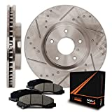 Max Brakes Premium Slotted+Drilled Rotors w/Ceramic Pads Front Perforamnce Brake Kit KT026031 [Fits 2000-2002 Dodge Dakota Durango]
