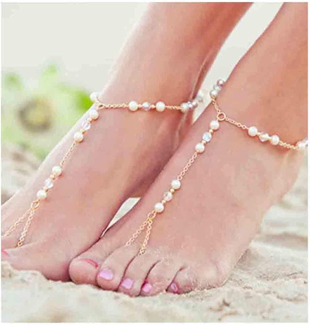 Olbye Pearl Toe Ring Anklet Bracelet Gold Barefoot Sandals Personalize Foot Chain Jewelry for Women and Girls Beach Wedding 2 Pcs