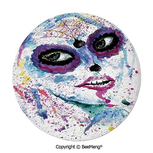 Diameter31 inch,Printing Round Rug,Dragonfly,Mat Non-Slip Soft Entrance Mat Door Floor Rug Area Rug for Chair Living Room,,Cute Girls,Grunge Halloween Lady with Sugar Skull Make Up Creepy Dead Face Go -