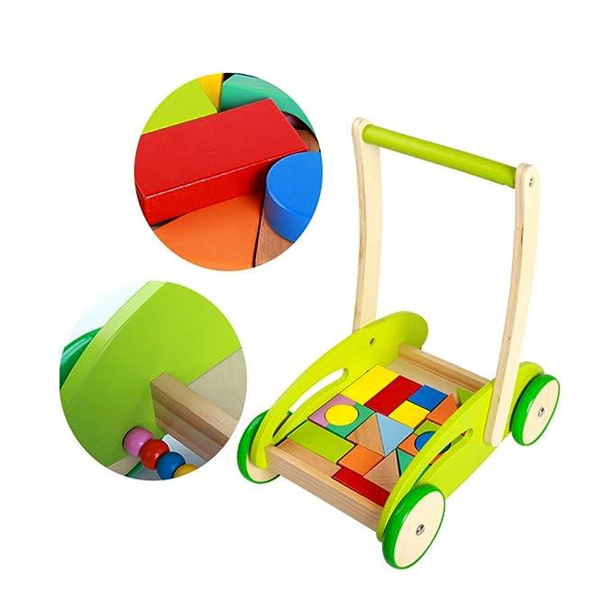 TOYANDONA - Carrito de madera multifunción para bebé, con ruedas ...