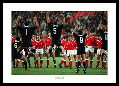 Framed Wales Rugby Team Face the Haka 1995 World Cup Photo Memorabilia