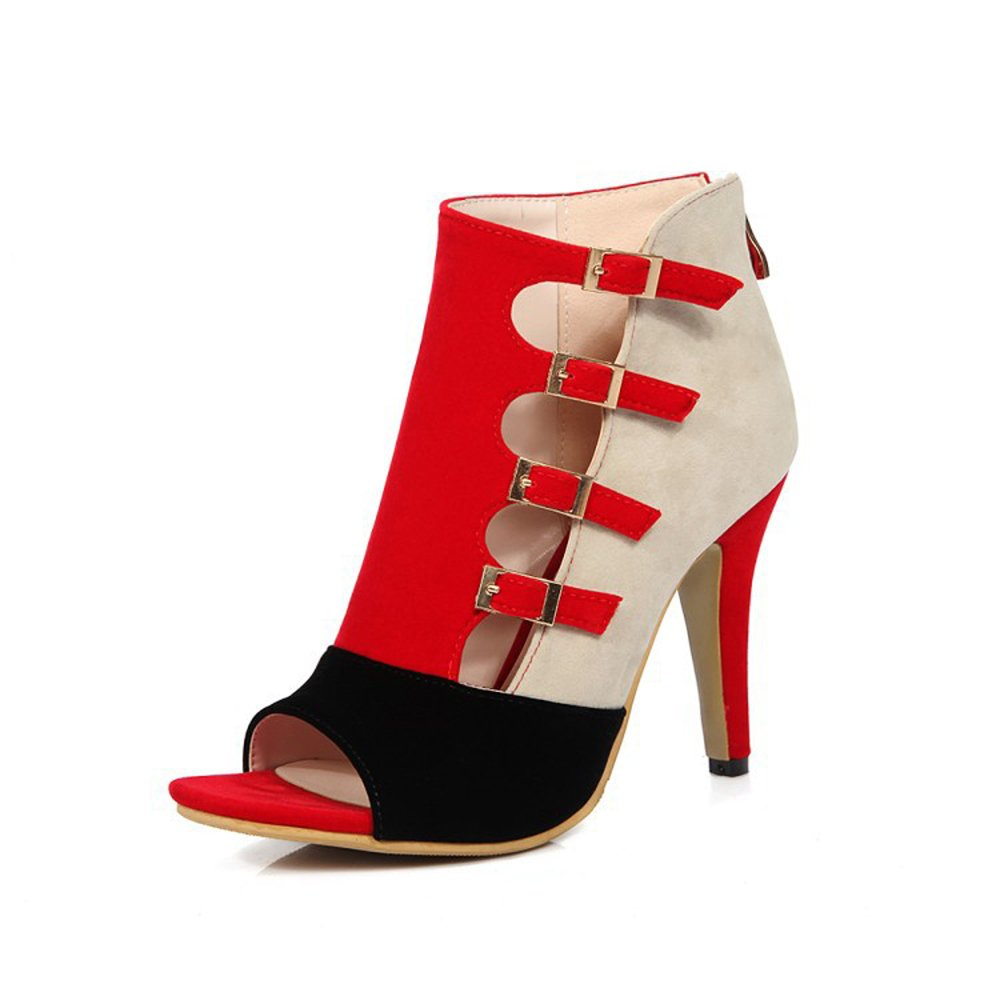 GATUXUS Open Toe Women Platform High Heel Shoes Buckle Pump Boots for Party Prom (9 B(M) US, Red)