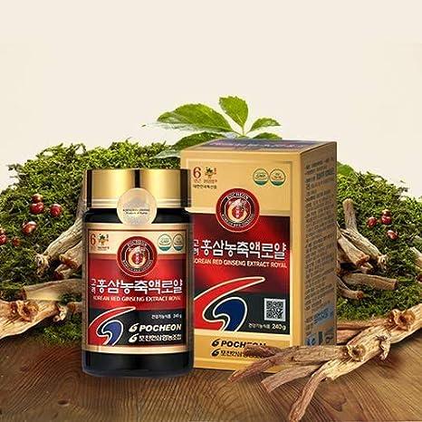 Pocheon Ginseng 240g 100% Puro Coreano de 6 Años La Raíz Rojo Panax Ginseng Extracto ROYAL, 70% de estado sólido, Saponina