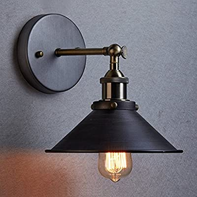 Metal Wall Sconce Light Fixture - 8.7 inch diameter - Vintage Industrial Loft Style - Great lighting fixture for bathroom, dining room, kitchen or bedroom