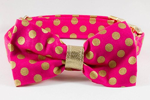 Valentines Day Pretty in Pink and Gold Polka Dot Dog Bow Tie Collar