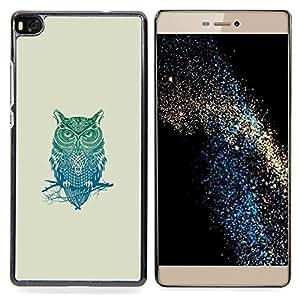 """Qstar Arte & diseño plástico duro Fundas Cover Cubre Hard Case Cover para Huawei Ascend P8 (Not for P8 Lite) (Patrón Búho tribal"""")"""