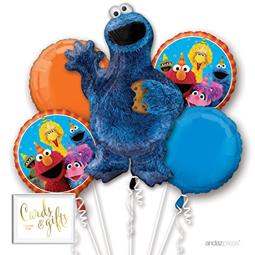Balloon Sesame Street Balloons (Andaz Press Balloon Bouquet Party Kit with Gold Cards & Gifts Sign, Sesame Street Cookie Monster Birthday Foil Mylar Balloon Decorations, 1-Set)