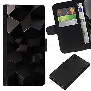 KLONGSHOP // Tirón de la caja Cartera de cuero con ranuras para tarjetas - Polígono patrón de Arte Negro Extranjero 3D Sci Fi - Sony Xperia Z1 L39 //