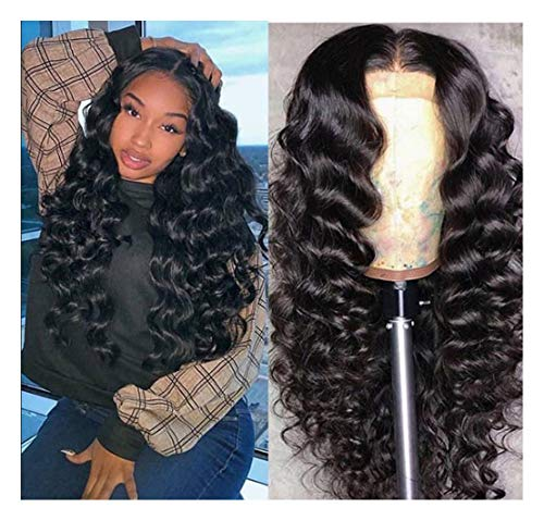 Lace Front Hair Wigs Exotic Wave High Temperature Synthetic Human Hair eeling Wigs For Black Women Long Ombre Wigs Size Adjustable for Daily and Festival (26in) (Best Temperature For Humans)