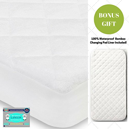 Organic Crib Mattress Pad Cover + BONUS Changing Pad Liner Included! – Waterproof, Hypoallergenic, Fitted with Ultra Soft Bamboo Quilted Top - Fits ALL Standard Crib Mattresses by LANCON Kids