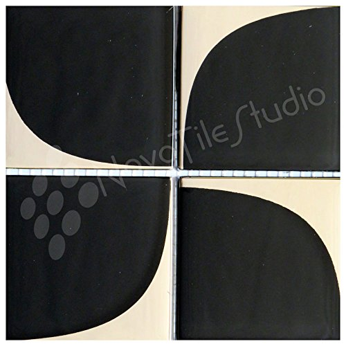 Box 10 Tiles Retro Black & Silver Glass Mosaic Tile 12''x12'' MILANO-GL003 (10) by NovoTileStudio.com
