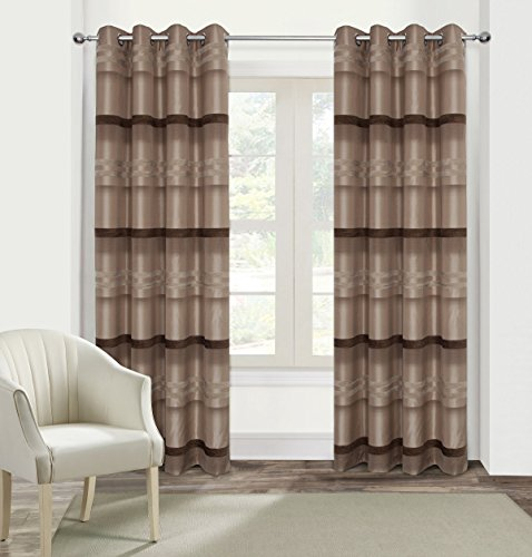 Set Curtain Chenille (Alexandra Cole Chenille Stripe Curtains for Bedroom Luxury Woven Curtains Wide Width Curtains for Living Room Set of 2 54x63)