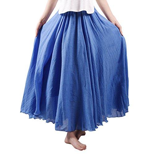 (Kafeimali Women Bohemian Cotton Linen Double Layer Elastic Waist Long Maxi Skirt (Blue, 85CM-Length))