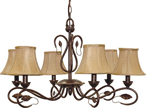 Nuvo 60 1168 6 Light Chandelier with Fabric Shades