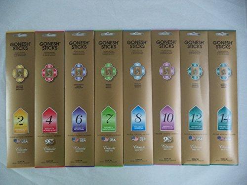 Gonesh 2 4 6 7 8 10 12 14 Incense Sampler 20 Sticks X 8 Packs (160 Stick)