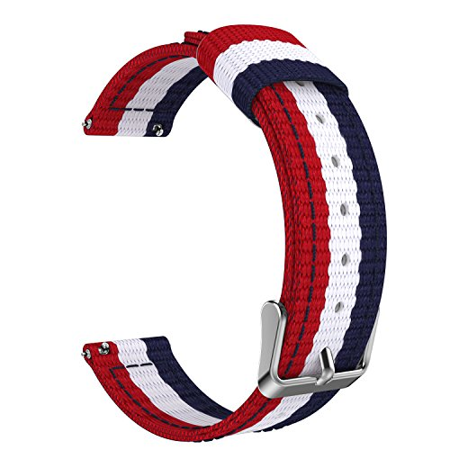 Price comparison product image Universal 20mm Quick Release Watch Band, MoKo Fine Woven Nylon Band Replacement Strap for Samsung Gear S2 Classic/Motorola Moto 360 2nd Gen Men's 42mm/Ticwatch 2nd & Huawei Watch 2, Blue & White & Red