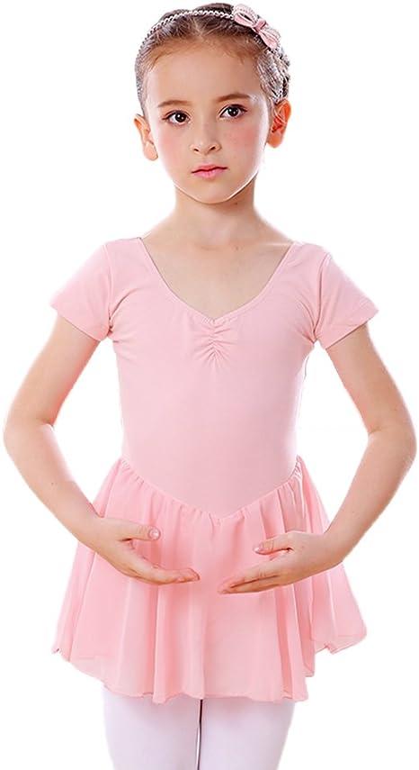 LeerKing Tutu di Balletto in Cotone per Bambina Body per Ginnastica in Chiffon Rosa
