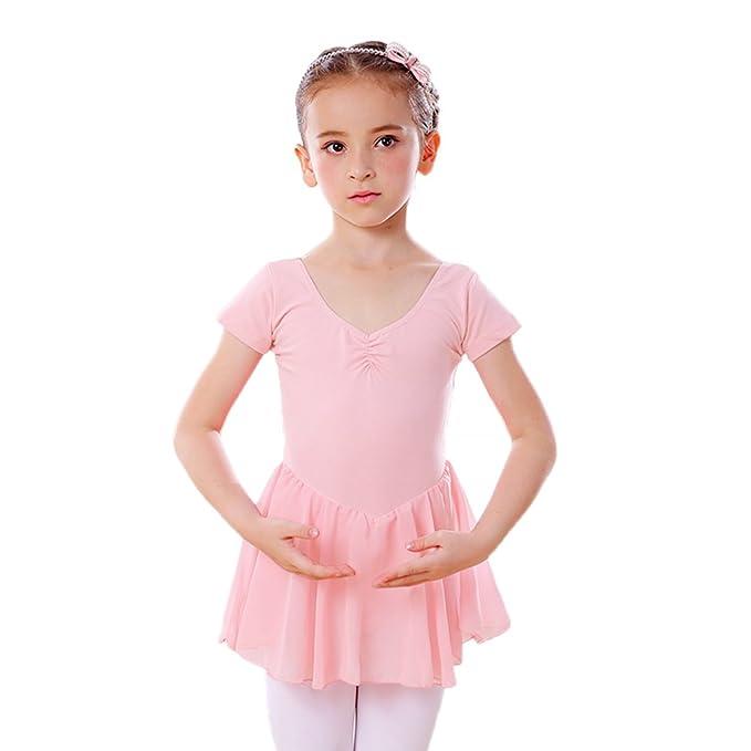 d72c11fc366ef DANCEYOU Girls' Skirted Short Sleeve Leotard for Gymnastics Ballet Dance  Tutu Dress for Toddler Little