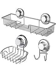 SANNO Shower Caddy Soap Dish Suction Hooks-Bathroom Saver Organizer Kitchen Storage Basket for Shampoo, Conditioner, Soap- Stainless Steel (Set of 3)