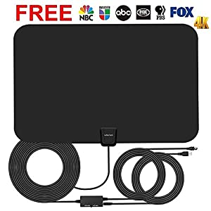 TV Antenna TV Aerial 4K Smart TV Antennas indoor 60 Mile Range 16.5FT Coaxial Cable with Detachable Amplifier Signal Booster Local Broadcast HD VHF UHF Signal Channels for Home Smart Television Black