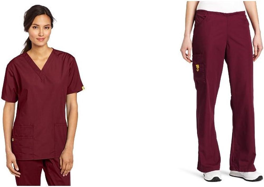 WonderWink Women's Plus Size Scrubs Bravo 5-Pocket V-Neck Top: Medical Scrubs Shirts: Clothing