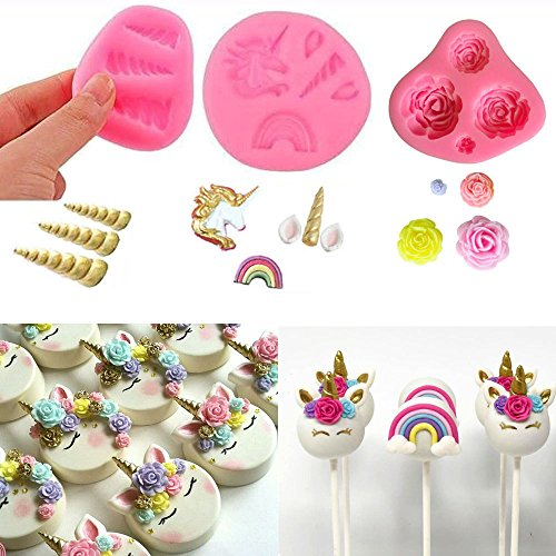 Mini Unicorn Mold Unicorn Horn Ears Flower and Rainbow Cupcake Topper Fondant Chocolate Mold( Set of 3) by A&J