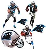 FATHEAD Carolina Panthers Team Set 3 Players + 2 Panthers Logo + Helmet Official NFL Vinyl Wall Graphics 7'' INCH EACH - Cam Newton, Luke Kuechly