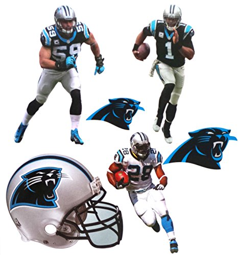 FATHEAD Carolina Panthers Team Set 3 Players + 2 Panthers Logo + Helmet Official NFL Vinyl Wall Graphics 7