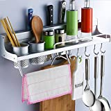 Kitchen Cabinet Organization Ideas Multifunctional Aluminum Wall Hanging Kitchen Rack with Shelves, Spice Rack, Bottle Racks, Various Hanger Hooks & Pot Organizers for Kitchen Organization.