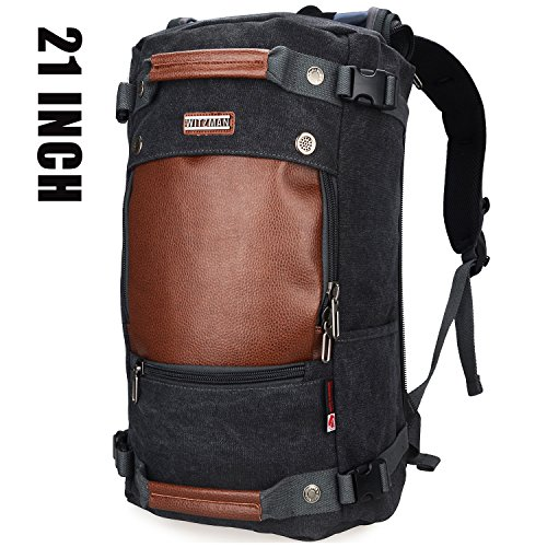 Witzman Men Travel Backpack Canvas Rucksack Vintage Duffel Bag A2021 (21 INCH Black)