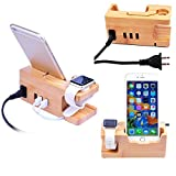 iPhone Charger Dock, MOOZO Bamboo Wood Desktop 3 USB Charging Station Charge Holder Cradle Stand for iPhone X 8 7 6 6S Plus Samsung Galaxy S8 Plus S7 S6 Edge Apple Watch 2 3 4 iWatch LG HTC Smartphone