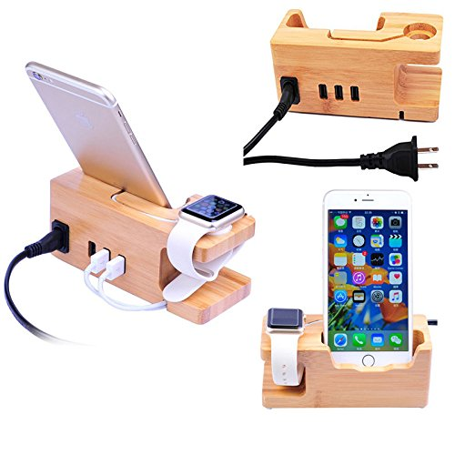 MOOZO Bamboo Wood Desktop 3 USB HUBCharging Dock Station Charge Holder Cradle Stand Compatible iPhone Xs MAX XR X 8 7 6 6S Plus Apple Watch 2 3 4 / iWatch 38mm & 42mm Samsung LG HTC Sony Smartphones