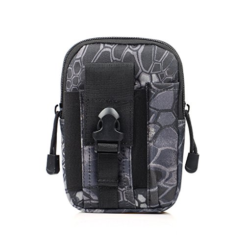 liangdongshop Tactical Molle EDC Utility Gadget Pouch Compact Multipurpose Belt Waist Hip Bag with Cell Phone Holster Holder(Without Strap-Python Pattern)
