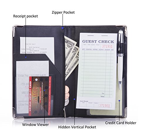 Deluxe Server Book Organizer for Restaurant Waiter Waitress Waitstaff   Comfortably Fits in Apron   9 Pockets includes Zipper Pouch with Pen Holder   Holds Guest Checks, Money, Order Pad by Sonic Server (Image #4)