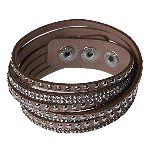 SUMAJU Wrap Bracelet, Womens Bracelets Leather Bangle Charm Winter Leather Statement Brown