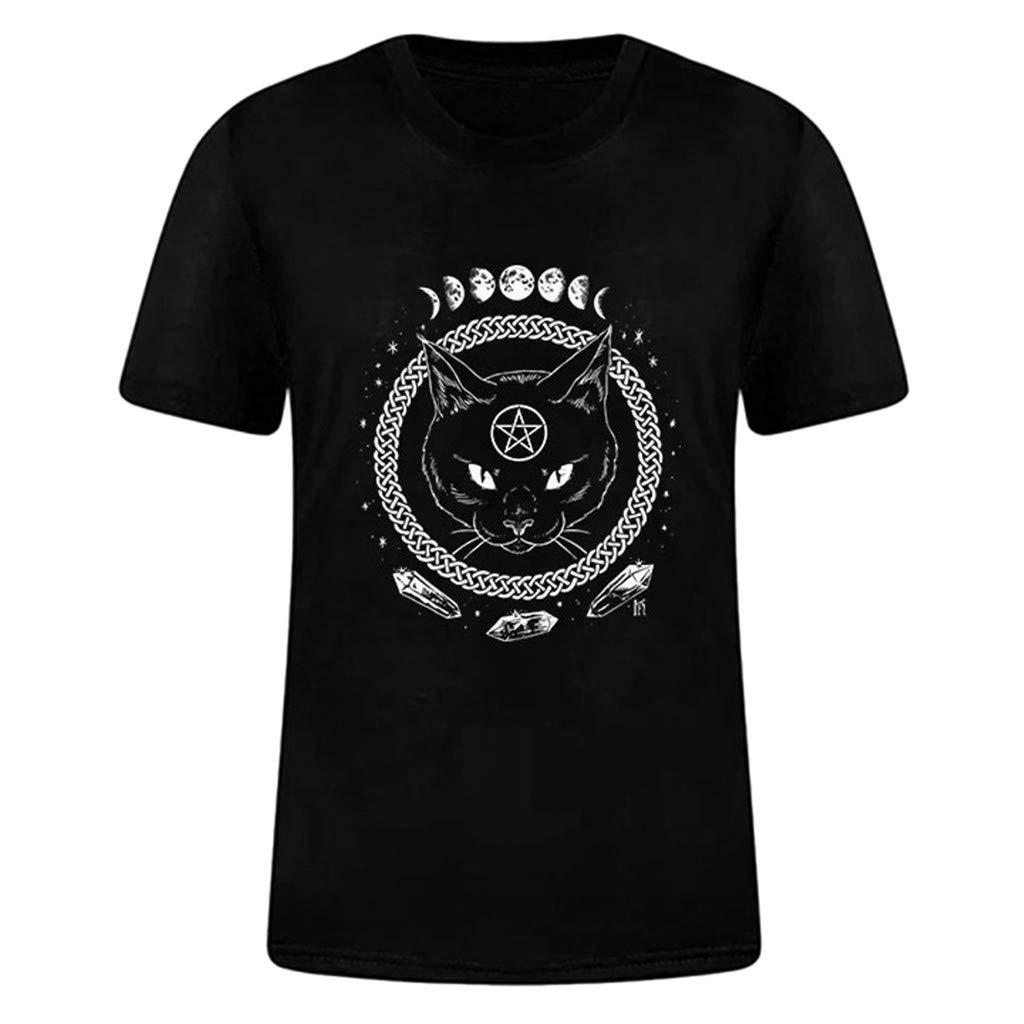 Auifor Women Girl Funny Short Sleeve Moon Cat Print Punk Gothic Top Blouse T Shirt