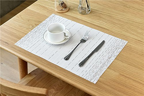 Large Product Image of Pauwer Placemats for Dining Table Heat resistant Stain Resistant Washable PVC Placemats Set of 6 Kitchen Table Place Mats Woven Vinyl Placemats (White, Set of 6)