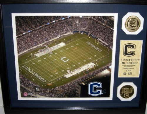 - Highland Mint--Connecticut Huskies 8x10 Collage Image of Rentschler Field with 2 Bronze Medallions--Limited Edition 1 of 5000