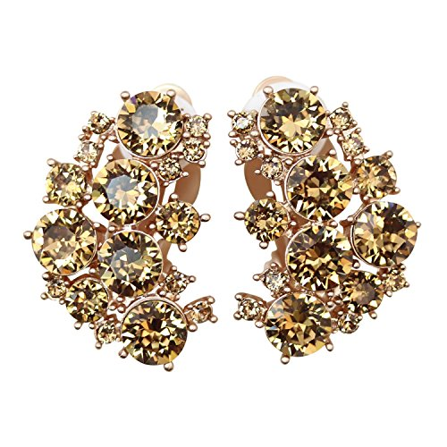 (Faship Stunning Yellow Crystal Clip On Earrings -)