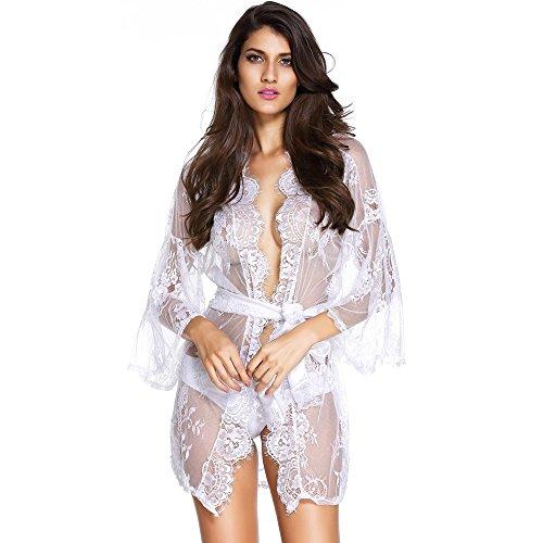 Slocyclub Women Sexy Fashion Show Wrap Fiore Lace Robe Kimono Nightgown White Medium