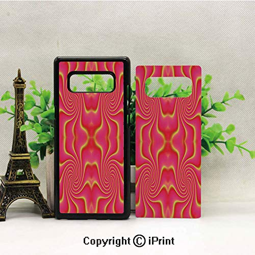 Galaxy Note 8 Case Heavy Duty Protection Shock Absorption Slim Soft TPU Cover Digital Pop Art Produced Figural Expanding Shady Lines and Nested Shape Design Pattern for Samsung Galaxy Note 8,Red Yell - Light Figural