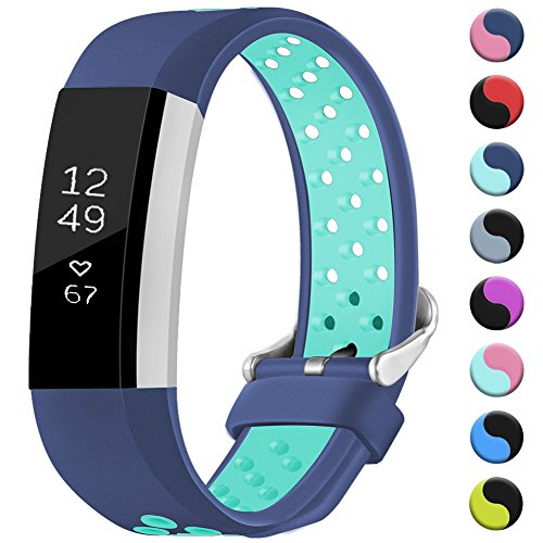 GEAK For Fitbit Alta/Alta HR/Ace Bands Sports Replacement Accessorries Wristband with Watch Buckle,Small Blue/Teal