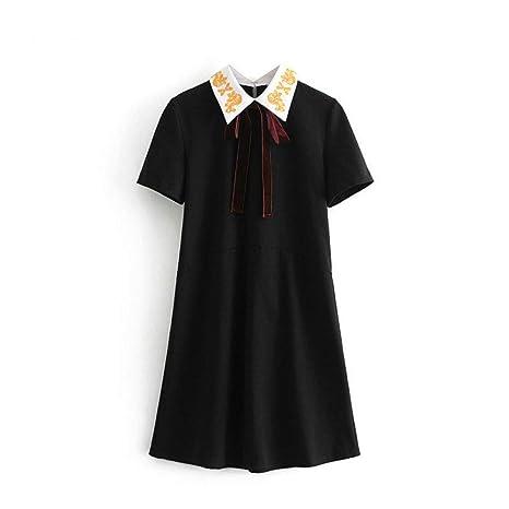 GDCAKMI Vestido Negro Dulce de Las Mujeres del Arco de la Manga ...
