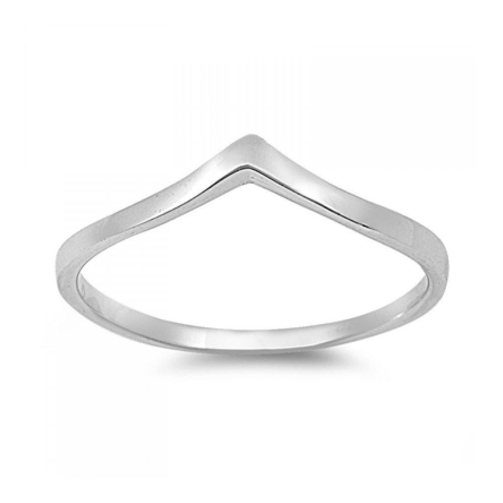925 Sterling Silver V Shaped Ring Glitzs 10924