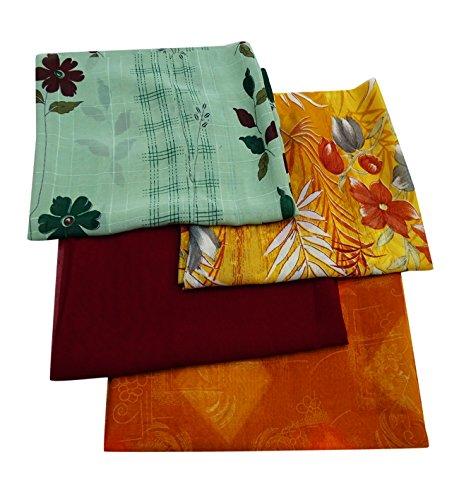 Fabric 4 Fat Quarters (Peegli Indian Vintage Wholesale DIY Fat Quarter Lot of 4 Pcs Bundle Silk Blend Fabric Handmade Sewing Craft Dress Making)