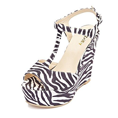 ZriEy Women Gorgeous Sexy Peep Toe High Heels Platform Wedge Sandals Velvet Zebra-Stripe Size (Stripe High Heel)
