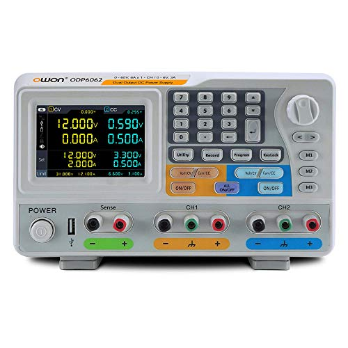 OWON ODP6062 12A / 6A 378W 0-60V / 6A-CH | 0-6V / 3A2+Sense1mV / 1mA Dual Output Programmable DC Power Supply