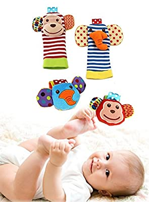Happy Monkey Baby Wrist Rattles and Foot Finders Set includes both Infant Foot Finder Socks and Wrist Toy by Happy Monkey that we recomend individually.