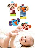 Happy Monkey Baby Wrist Rattles and Foot Finders Set High...